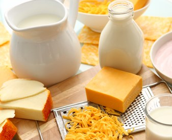Dairy products on a table